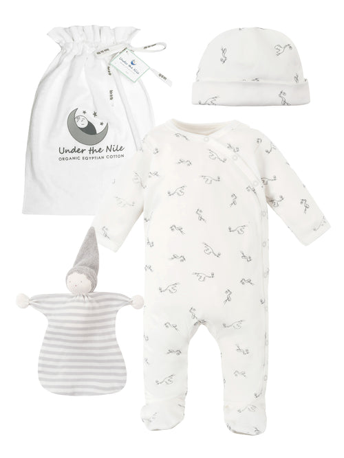 Homecoming Stork Print Footie Gift Bag Set
