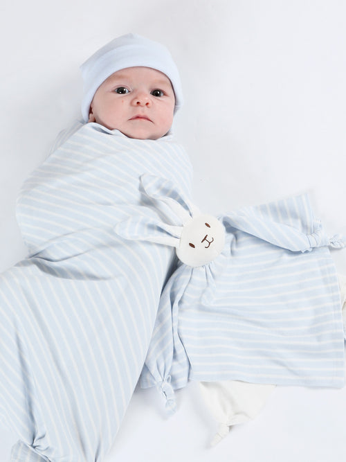 Swaddle Blanket - 2 Pack Pale Blue Stripe + Off-white