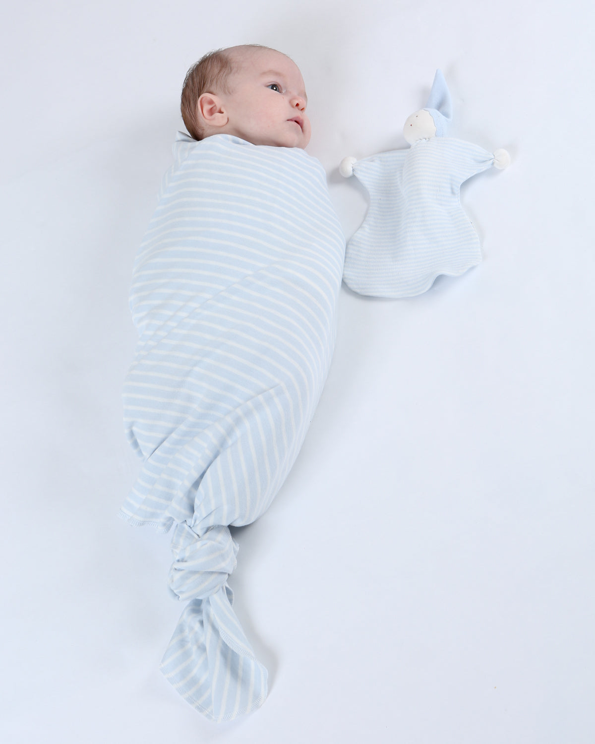 Swaddle Blanket - 2 Pack Pale Blue Stripe and Off-white