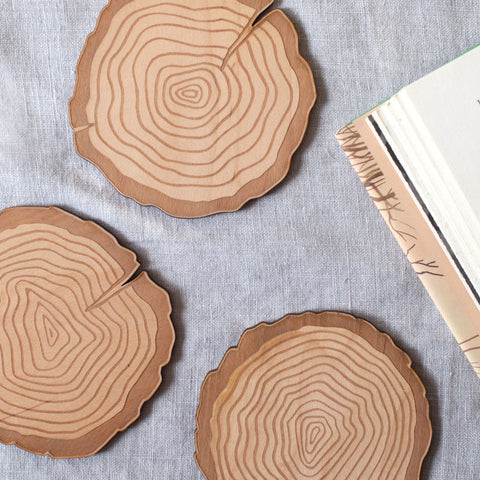 Tree Rings Wood Coasters - Set of 4