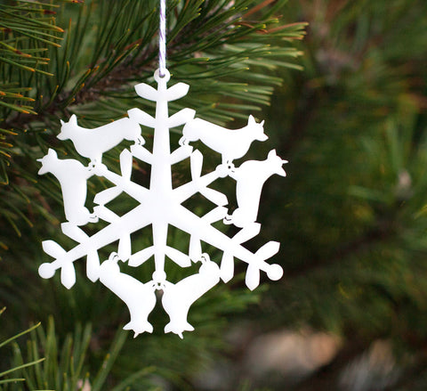 Tree Ornament - Corgi Snowflake
