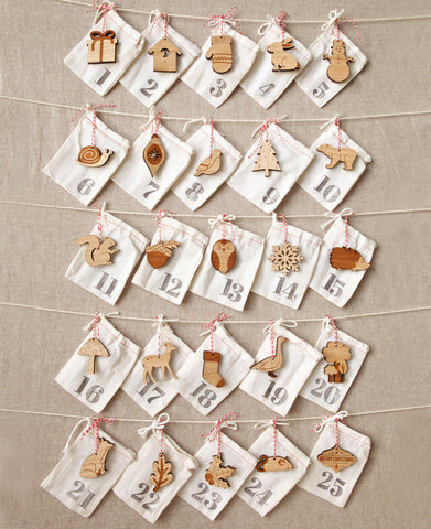 handmade woodland animals advent calendar, ornament advent countdown to Christmas, laser cut animals ornaments by peppersprouts 25