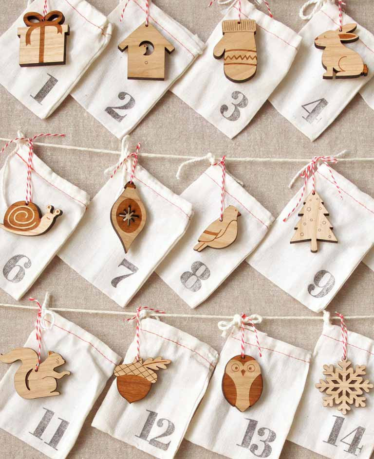 woodland animals advent calendar, ornament advent countdown to Christmas, laser cut animals ornaments by peppersprouts