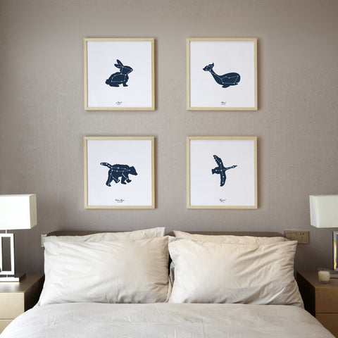 Set of 4 Glow in The Dark Constellation Screen Prints