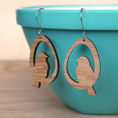 Birds - Bamboo Earrings
