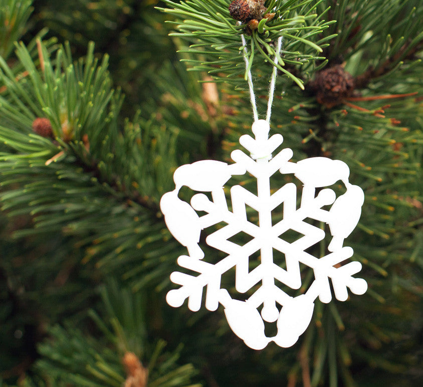 snow bird snowflake ornament laser cut geometric christmas ornament cut from white acrylic, animal series collectable ornaments by peppersprouts