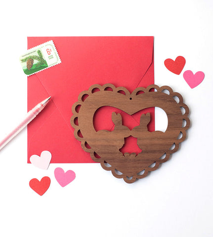 Woodland Valentine Card - Kissing Bunnies