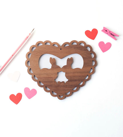 wood card, Bunny valentines day card, lasercut wood card that can be hung on the wall. a non boring valentines day card and gift, with kissing bunnies