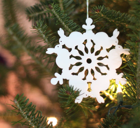 Tree Ornament - Bunny Snowflake