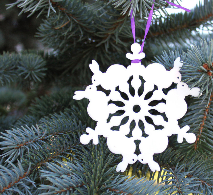 Kissing bunnies snowflake ornament laser cut geometric christmas ornament cut from white acrylic, animal series collectable ornaments by peppersprouts