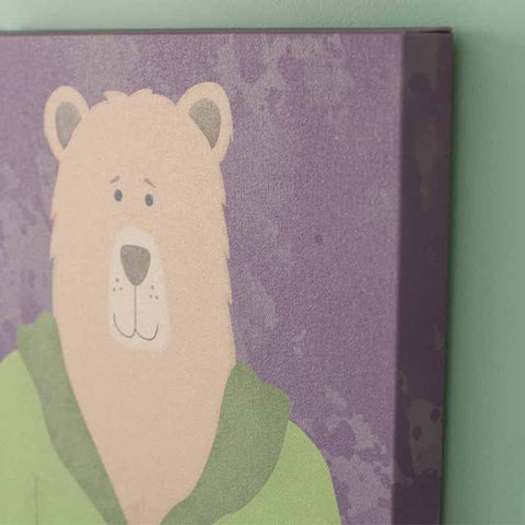 Bear canvas print by peppersprouts. Bear wearing a sweater, wall art 12 x 12 canvas