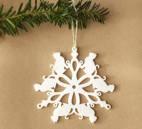 Kitty cat snowflake ornament laser cut geometric christmas ornament cut from white acrylic, animal series collectable ornaments by peppersprouts