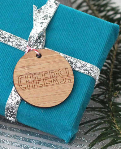 Cheers! Bamboo gift tag, laser engraved eco friendly reusable christmas gift tag