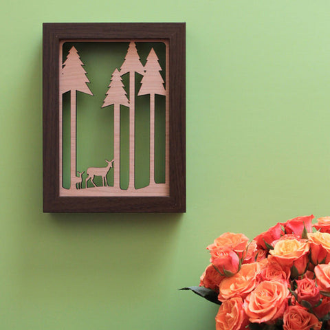 5x7 woodland wall art shadowbox, deer walking through forest artwork