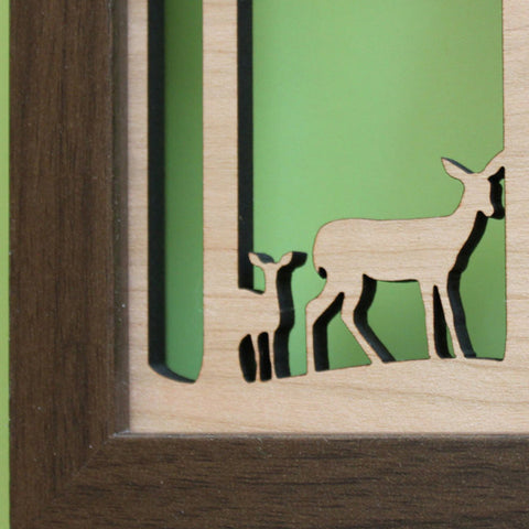 detail of lasercut shadowbox, papercut, 5x7 artwork woodland deer and fawn