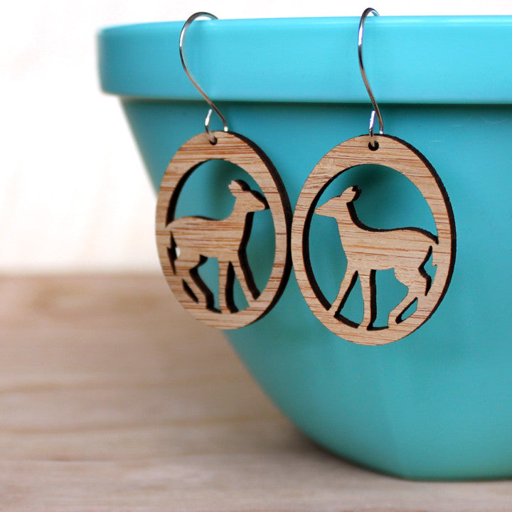 Deer earrings, bamboo earring, light weight nature eco -friendly accessories