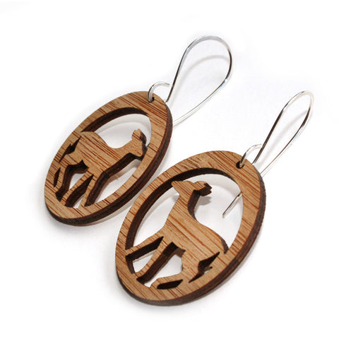 Deer earrings, bamboo earring, light weight nature eco -friendly accessories  deer fawn silhouettes