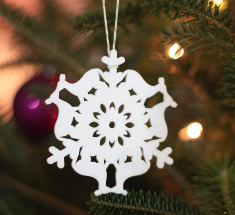 woodland christmas kissing deer snowflake ornament laser cut geometric christmas ornament cut from white acrylic, animal series collectable ornaments by peppersprouts