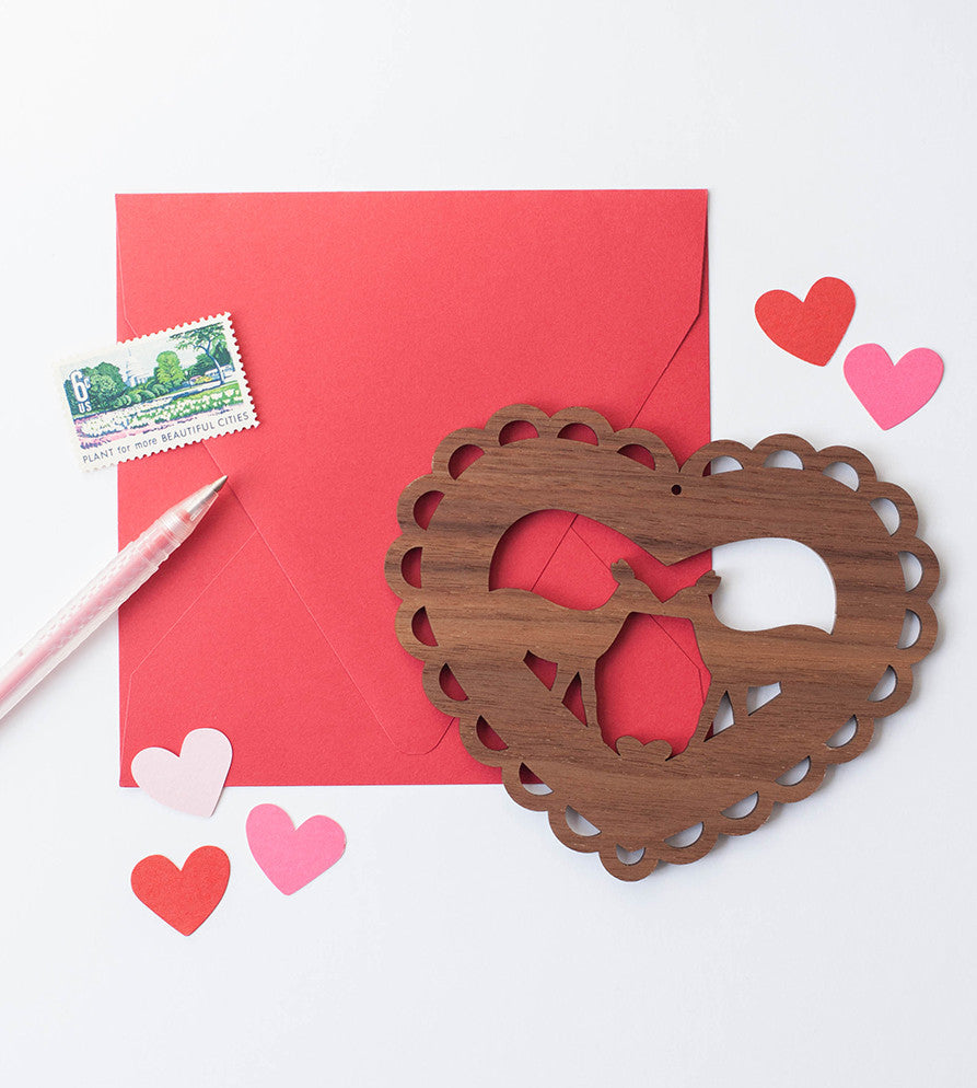 Deer valentines day card, lasercut wood card that can be hung on the wall. a non boring valentines day card and gift, with kissing deer