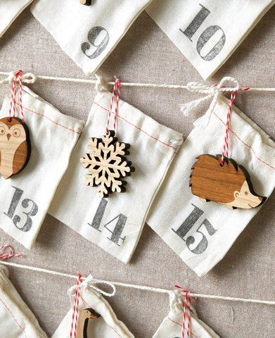 handmade advent calendar, wood laser cut ornaments by peppersprouts