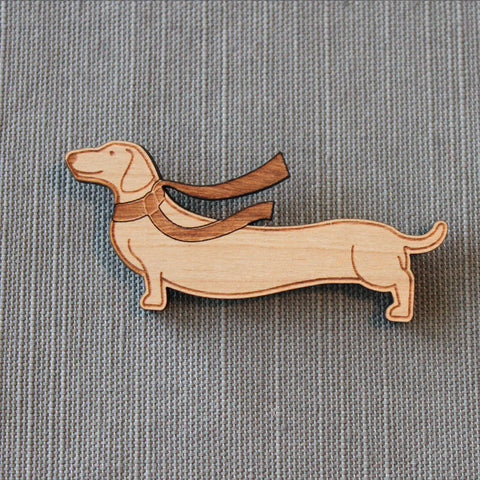 Dachshund and Scarf - Wood Brooch