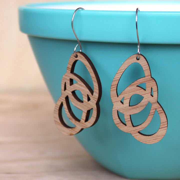 lightweight geometric modern earring laser cut from bamboo eco-friendly