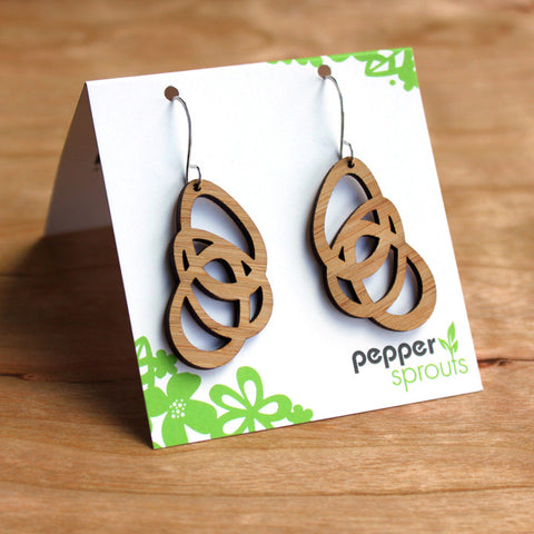 Geometric Petals - Bamboo Earrings