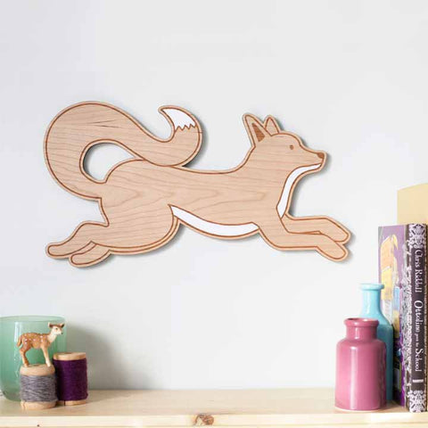 Painted Wood Fox Wall Art