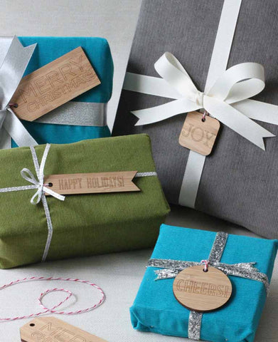 luxury gift wrapping idea, bamboo wood gift tags from peppersprouts