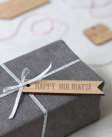 Happy holidays bamboo wood gift tag, laser cut by peppersprouts holiday gift wrap idea luxury gift wrap