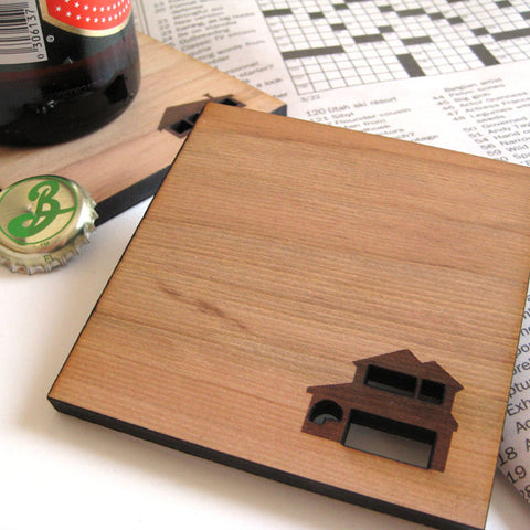 Home Sweet Home - Set of 4 Wood Coasters