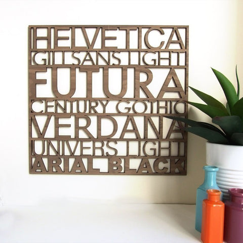 Typography artwork, wood lasercut typefaces, graphic designer gift idea office wall art