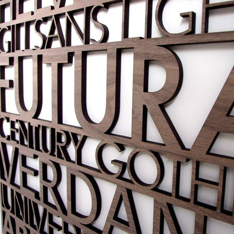 large laser cut helvetica wall art, typography gift by peppersprouts