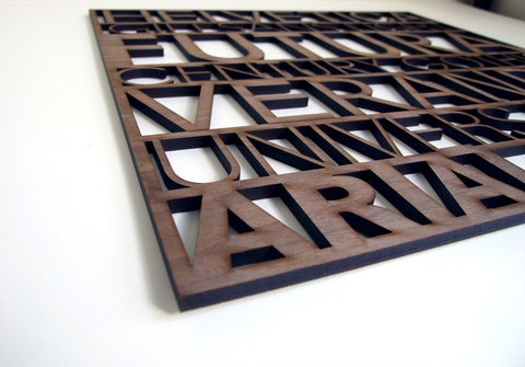 close up detail of laser cut typography