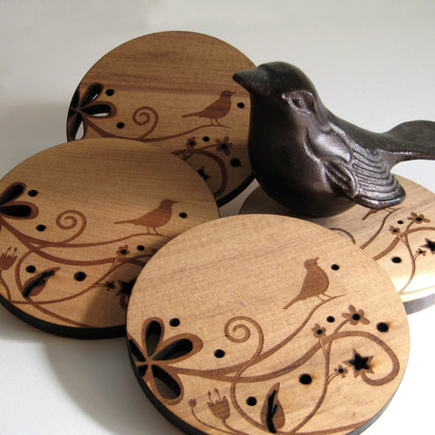 Bird on a Branch - Set of 4 Wood Coasters