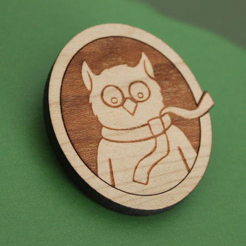 Ollie the Owl - Wood Brooch