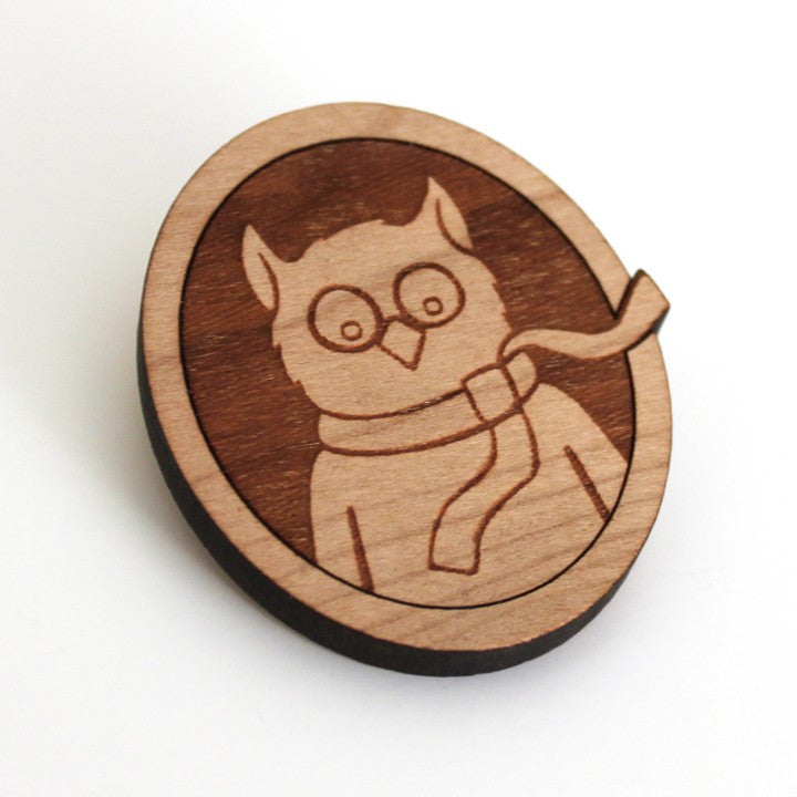 owl wearing scarf wood brooch pin by peppersprouts character illustration wearable art