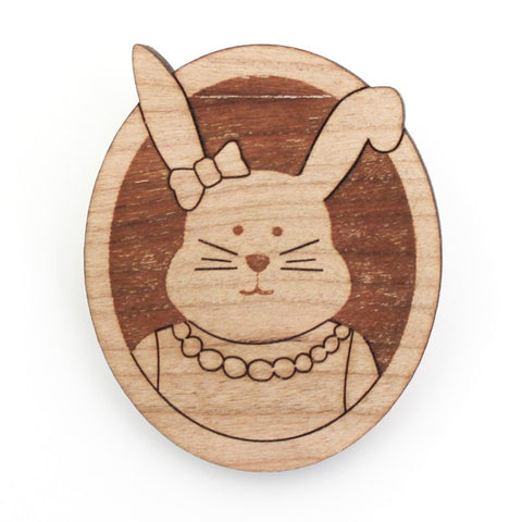 Bridget the Bunny Wood Brooch