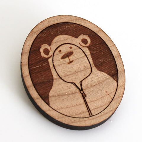 Brad the Bear - Wood Brooch