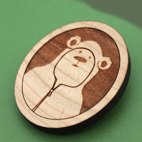 brad the bear, in a hoodie brooch and pin, wood laser cut character illustration handmade by peppersprouts