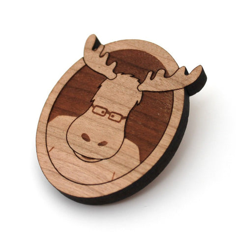 Milton the Moose - Wood Brooch