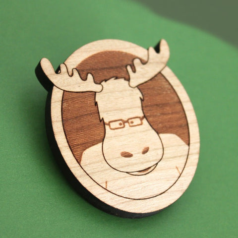 moose pin brooch, maine mascot wood lasercut cute adorable illustration to wear woodland themed brooch for a blazer or jacket