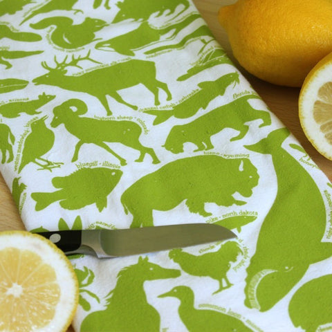 Kitchen Towel - 50 State Animals - Bright Green