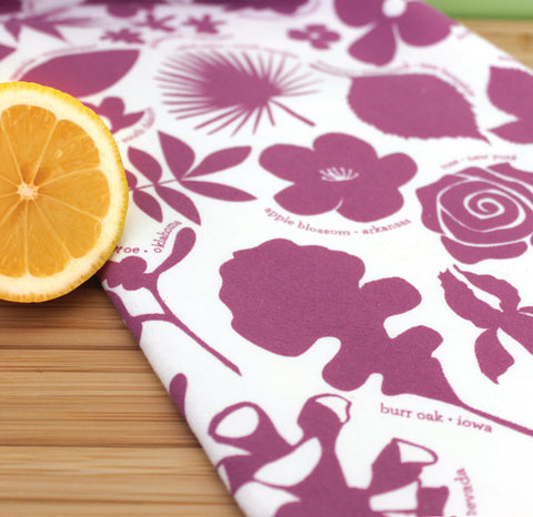 Kitchen Towel - 50 State Trees & Flowers - Purple