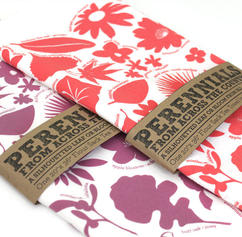 Dish towel or tea towel featuring the 50 state trees and flowers screen printed by peppersprouts available in purple or coral
