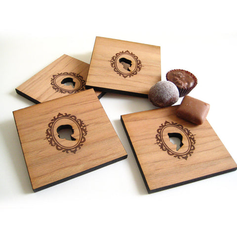 set of 4 Cameo silhouette wood coasters, laser cut form wood by peppersprouts