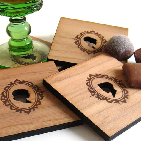 Cameo Silhouettes - Set of 4 Wood Coasters