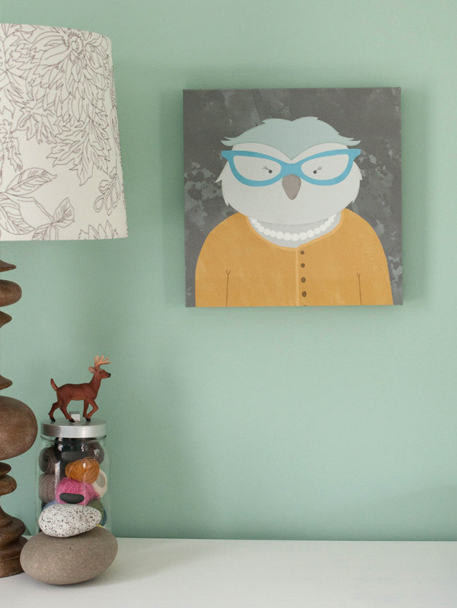 owl with glasses librarian children's art for wall canvas print yellow and gray artwork