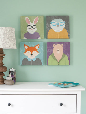 bunny rabbit wearing glasses kids illustration print on canvas ready to hang artwork new collection from peppersprouts