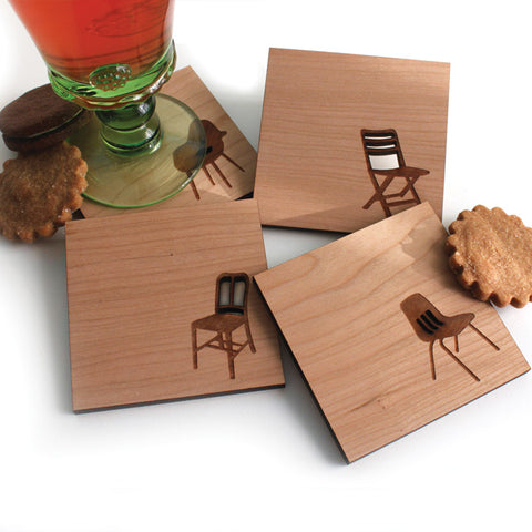 Modern Chair Silhouettes - Set of 4 Wood Coasters